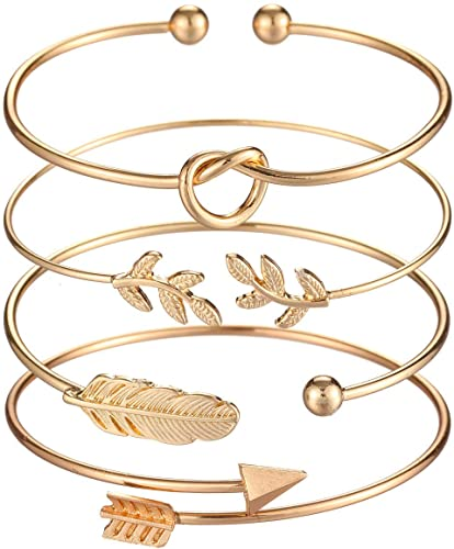 Amazon.com: Starain 4Pcs Gold Bangle Bracelets for Women Simple .