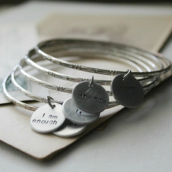 Recycled Silver Bangle With Hand-Stamped Word Disc - Inspirational .