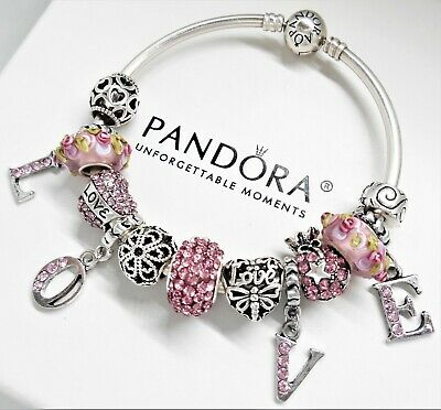 Authentic Pandora Silver Bangle Charm Bracelet Pink Love With .
