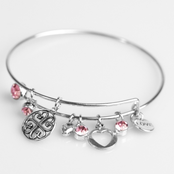 Paparazzi Accessories Jewelry | Love To Bits Pink Silver Bangle .