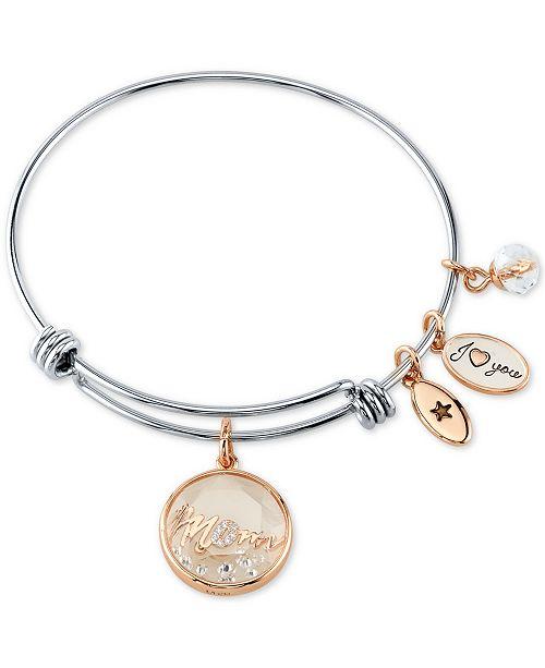 Unwritten Crystal Mom Shaker Charm Bangle Bracelet in Stainless .