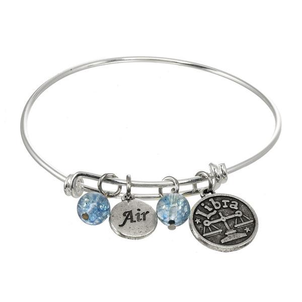 Aquarius, Gemini & Libra Zodiac Adjustable Bangle Charm Bracelet .