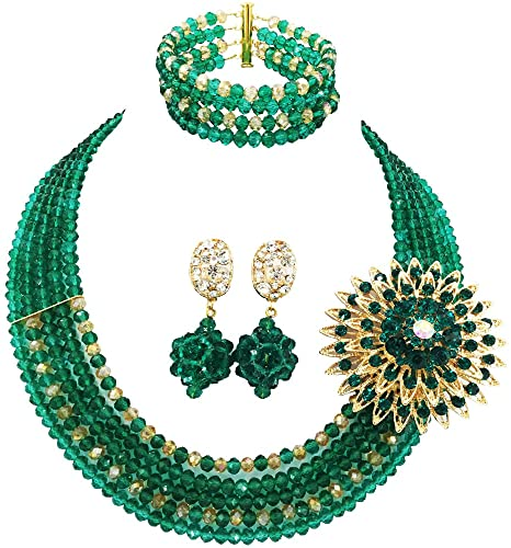 Amazon.com: aczuv 5 Rows Nigerian Beaded Jewelry Set Women African .