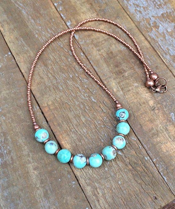 Beaded Stone Necklace, Copper Jewelry, Bohemian Necklace, Jasper .