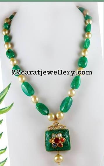 Simple Set with Meena work Beads - Jewellery Designs | Beaded .