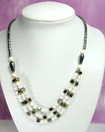 wholesale hematite jewelry - hematite beaded necklace with cat eye .
