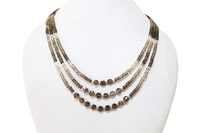 Amazon.com: Designer Multi strand Smoky quartz beaded necklace .