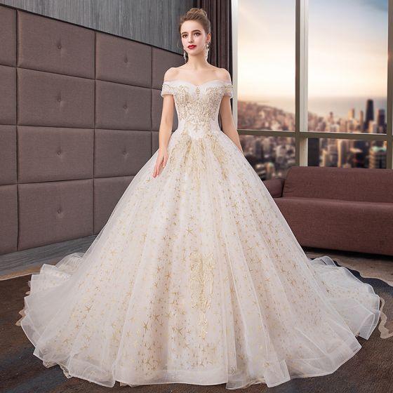 Chic / Beautiful Wedding Dresses Champagne 2019 A-Line / Princess .