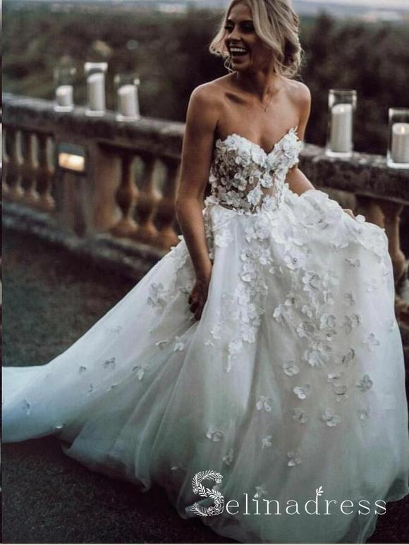 A Line Beautiful Wedding Dresses Sweetheart Appliques Beach .