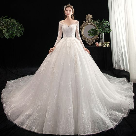 Chic / Beautiful Ivory Wedding Dresses 2020 Ball Gown V-Neck .