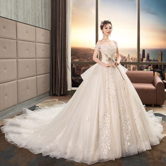 Chic / Beautiful Champagne Wedding Dresses 2019 A-Line / Princess .