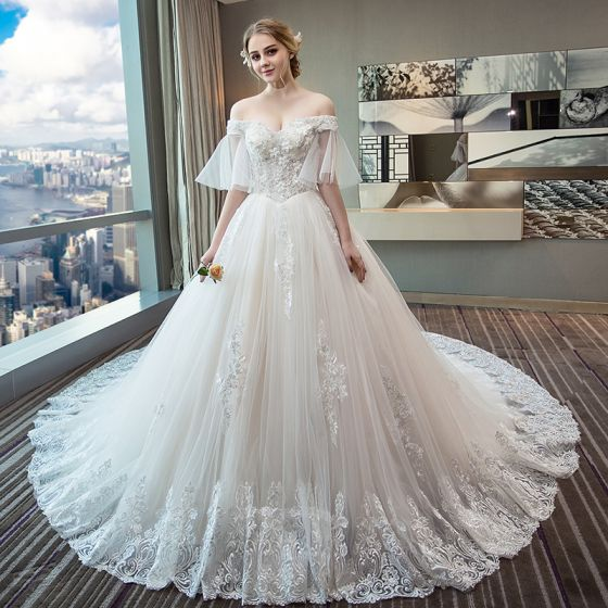 Chic / Beautiful Ivory Wedding Dresses 2018 Ball Gown Off-The .