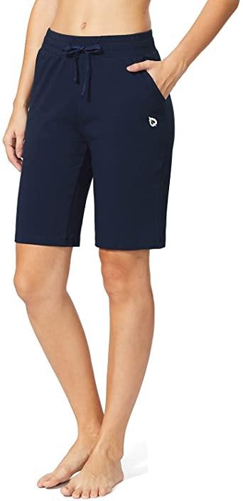 BALEAF Women's Active Bermuda Shorts Cotton Sweat Pants Gym .