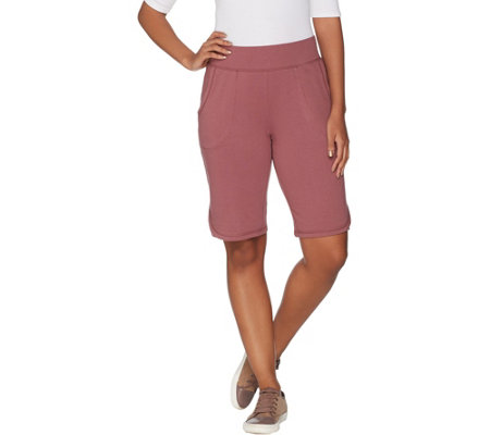 """""""As Is"""" Denim & Co. Active French Terry Bermuda Shorts with Pocke"""