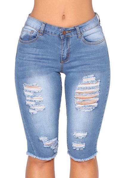 Ripped Washed Raw Hem Knee Length Denim Bermuda Shorts Jeans – Grape