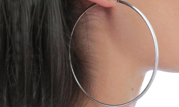 Up To 58% Off on Big Silver Hoop Earrings | Groupon Goo
