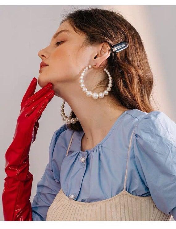XL Pearl Hoop Earrings Hoop Earrings Big Hoop Earrings Gold | Et