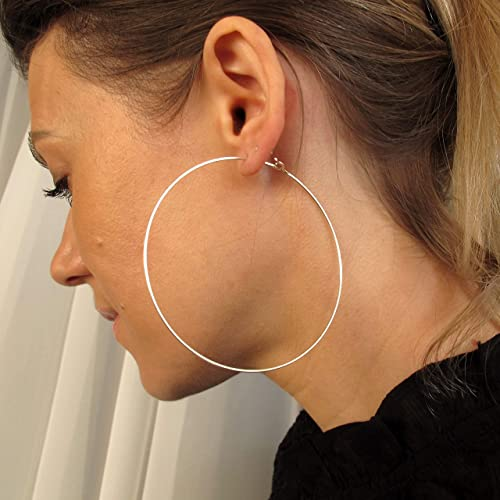 Amazon.com: Sterling Silver Hoop Earrings - Extra Large 3 inch .