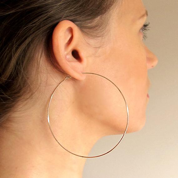 Rose Gold Filled Hoops Earrings - Extra Large Hoops - Big Hoops .