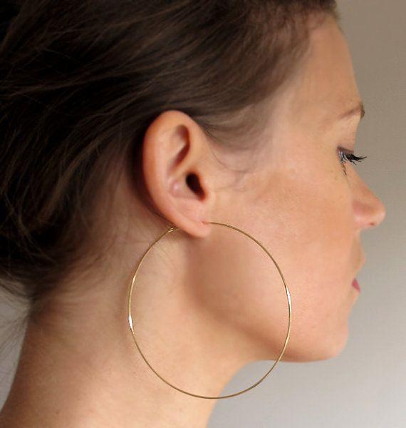 Large Gold Hoop Earrings 3 inch Gold Hoops Big Hoops large hoops .