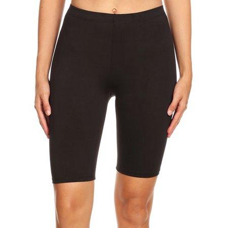 Imagenation - Imagenation Plain Soild Biker Shorts, Large, Black .