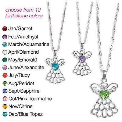 AVON Angel Birthstone Necklace You Choose Birthstone, NIB, Retail .