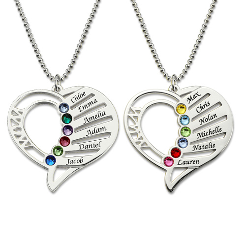 Personalized Mom Birthstone Necklace Family Jewelry Gift for Her .
