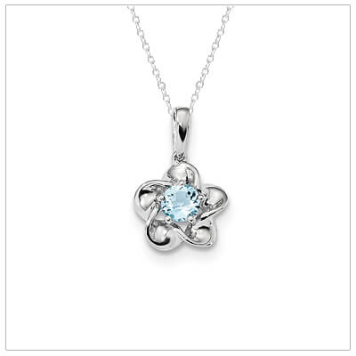 Sterling Birthstone Necklace with December birthstone for girls .