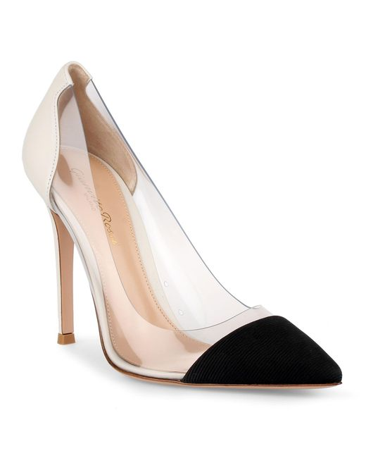 "Gianvito Rossi ""Plexi"" Black and White Pumps - Meghan's Mirr"