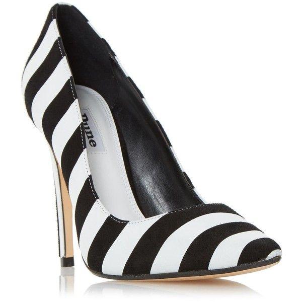 BELLISIMO Monochrome Striped Court Shoe BLACK/WHITE ❤ liked on .