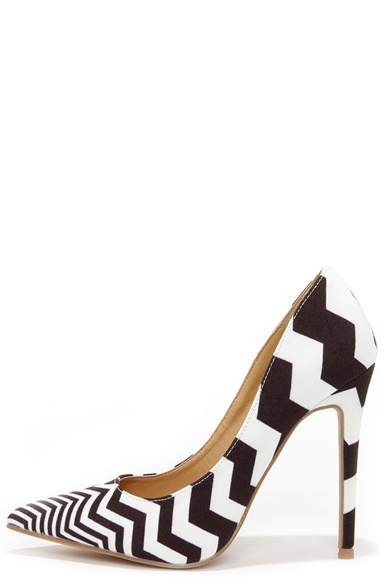 Cute Black and White Pumps - Striped Pumps - Pointed Pumps - $34.