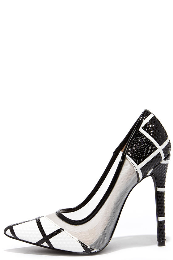 Cute Black and White Pumps - Pointed Pumps - $36.