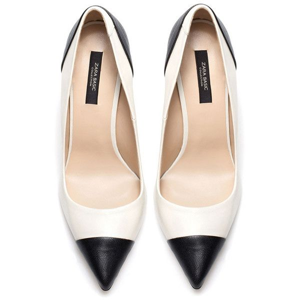 Zara two-tone black and white court shoes Shoeperwoman ❤ liked on .