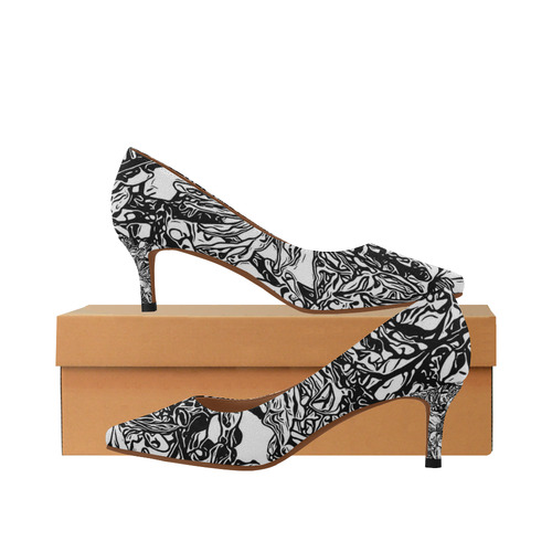 Inky Black and White Floral 2 by JamColors Women's Pointed Toe .