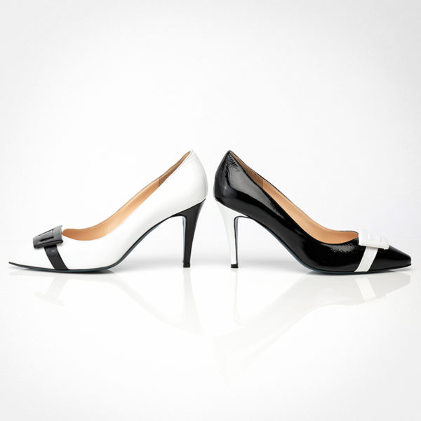 Black and White Patent Leather Asymmetric Pumps (Item nº231.PAT .