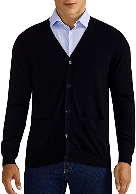 QUALFORT Mens Cardigan Sweater 100% Cotton Pockets Casual Slim Fit .