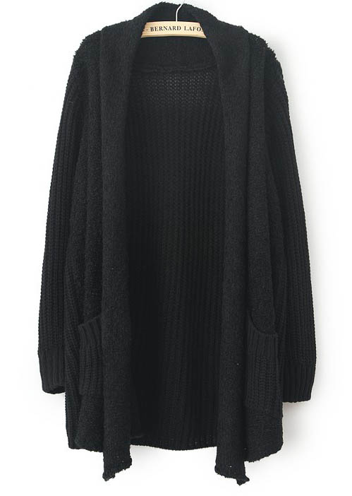 Black Long Sleeve Pockets Loose Cardigan Sweater [SW142229 .