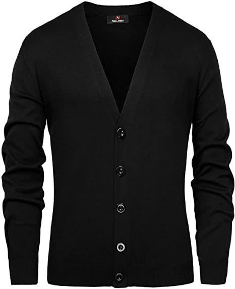 PAUL JONES Mens Stylish V-Neck Button Placket Cardigan Sweater .