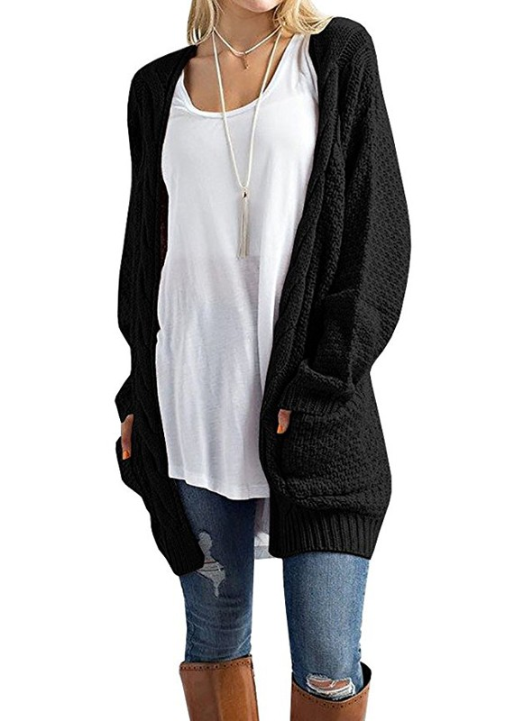 Black Pockets Long Sleeve Oversize Fashion Cardigan Sweater .