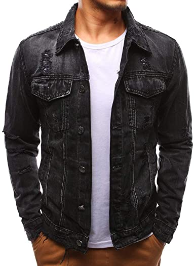 QINGYU Men's Jeans Jacket Single Row Buckles Holes Black Denim .