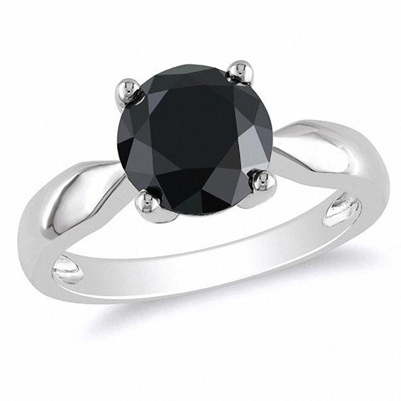 3 CT. Enhanced Black Diamond Solitaire Ring in 10K White Gold .