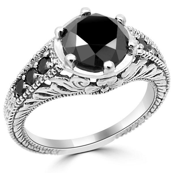 2 Carat Black Diamond Antique Style Engagement Ri