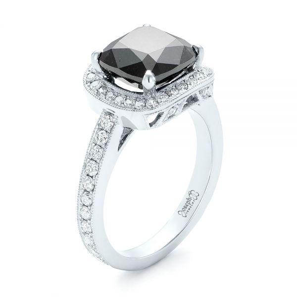 Custom Black Diamond Halo Engagement Ring #102814 - Seattle .
