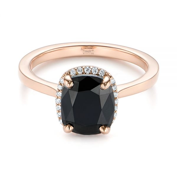 Custom Black Diamond Halo Engagement Ring #104685 - Seattle .