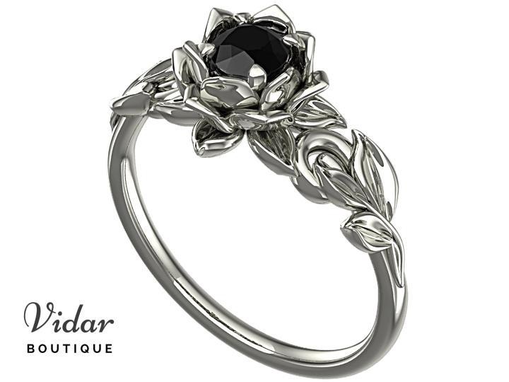 Lotus Flower Black Diamond Engagement Ring With Leaves│Vidar .