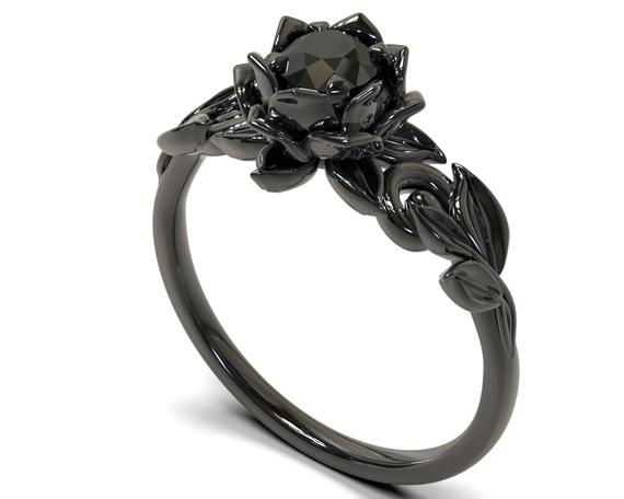 Black Diamond Engagement Ring Black Diamond Ring Black Gold | Et