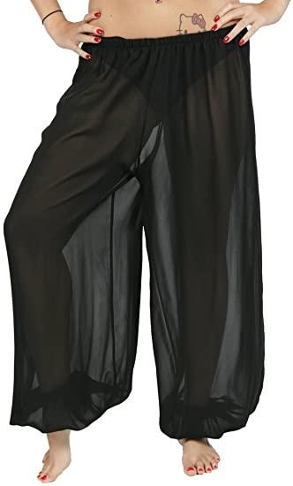 Belly Dance Chiffon Harem Pants | Sheer Shadow - Black at Amazon .
