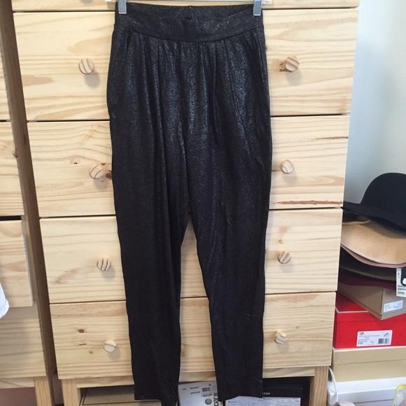 H&M Pants | Hm Black Glitter Jogger Harem | Poshma