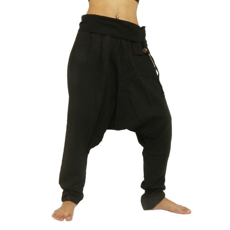 Aladdin Pants Harem Pants - Cotton Large Side Pocket - Black PC008-