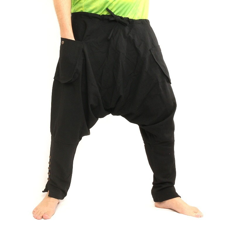 Harem pants - cotton - black PA-